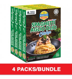 (4-Pack Bundle) 3-Minute Spaghetti Aglio Olio with Chicken (280g x 4)