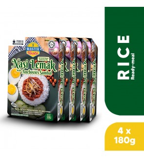 (4-Pack Bundle) 3-Minute Nasi Lemak with Anchovies Sambal (180g x 4)